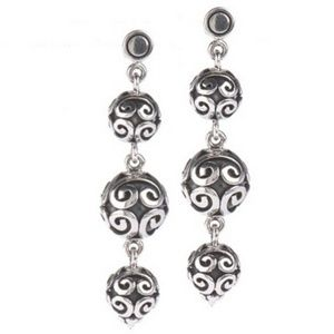 Surati Artisan Crafted Sterling Drop Bead Earrings
